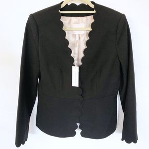 Rebecca Taylor Black Scallop Suit Jacket 8